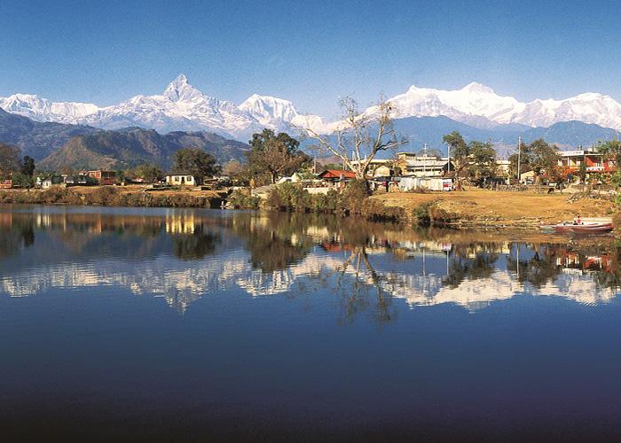 Annapurna and Phewa Lake, Pokhara, Nepal