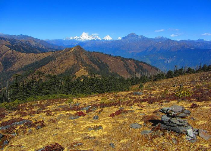Mount Jumolhari, Jichu Drake and adjoining peaks to the North West